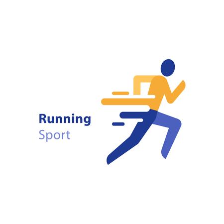 Vue de côté de personne en cours d'exécution, icône de coureur abstrait, événement de marathon, activité sportive, concept de course de triathlon, icône du design plat de vecteur