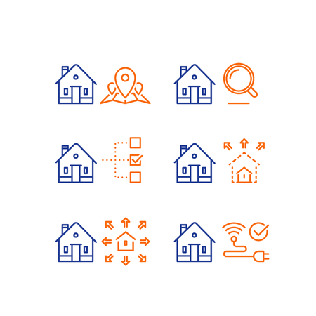 Real estate services, location mark map, search criteria magnifying glass, residential building size parameter, remodel, smart home control, wireless internet connection, vector line icon, stroke