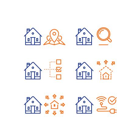 Services immobiliers, carte de repère d'emplacement, loupe de critères de recherche, paramètre de taille de bâtiment résidentiel, rénovation, contrôle de la maison intelligente, connexion Internet sans fil, icône de ligne vectorielle, accident vasculaire cérébral