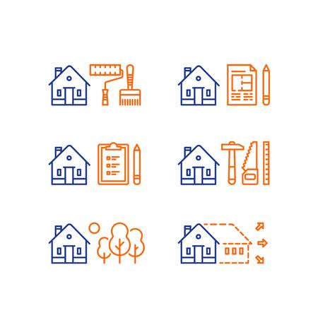 Hausrenovierung, Heimwerker, Modernisierungskonzept, Immobilienentwicklung, Lackierarbeiten, Kontraktionsarbeiten, Erweiterung, Sommerhaus, Vorstadthaus, grüne Nachbarschaft, Vektorlinienikone