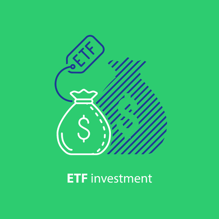 ETF investment concept, bigger return on investing money, finance control, pension savings planning, superannuation, vector line icon Illustration