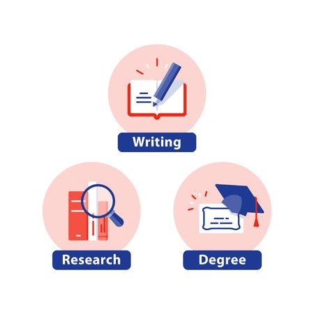 Bildung flache Symbole, Studienfach, Universitätsabschluss, Abschlusskappe, PhD-Diplom, Kurszertifikat, Schreiben, Buchrecherche, Vektorillustration