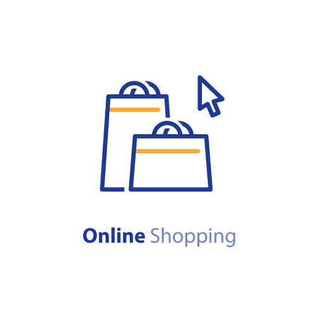 Online shopping, bags and cursor, vector line icon