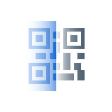 QR code scanning concept, vector icon, flat illustration