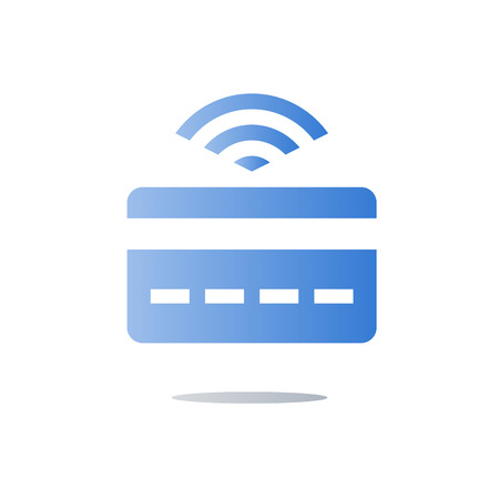 Wireless instant payment, clearing basis technology concept, banking services, credit card with signal, easy finance transaction, vector icon, flat illustration