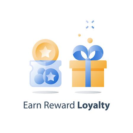 Sammeln Sie Punkte, Treueprogramm, sammeln Sie Bonusmarken, Belohnungsgeschenk, Geschenkbox, Preis einlösen, Vergünstigungskonzept, volles Glas, Vektorsymbol, flache Illustration