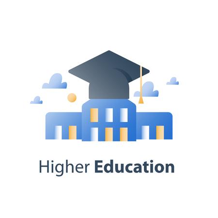 Enseignement supérieur, lycée, cours de formation en affaires, chapeau de graduation et bâtiment universitaire, concept de bourse, étude de l'académie, icône de vecteur, illustration plate