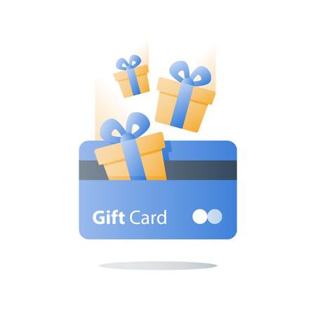 Tarjeta de regalo, programa de lealtad, ganar recompensa, canjear regalo, concepto de ventajas, icono de vector, ilustración plana
