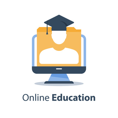 Education webinar, online course, subject lecture, web seminar, training class, tutor or guide, distant exam, tutorial access, computer monitor and person in graduation hat, vector icon