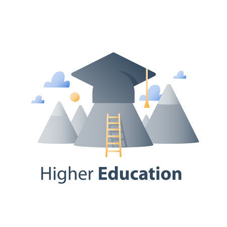 Enseignement supérieur, lycée, cours de formation en affaires, chapeau de graduation et montagnes, concept de bourse, étude de l'académie, icône de vecteur, illustration plate Vecteurs