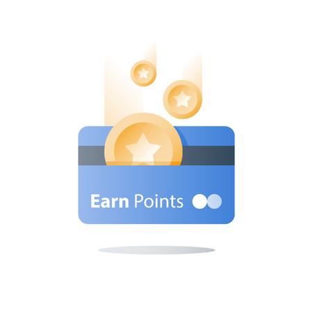 Tarjeta de bonificación, programa de lealtad, ganar recompensa, canjear regalo, concepto de ventajas, icono de vector, ilustración plana