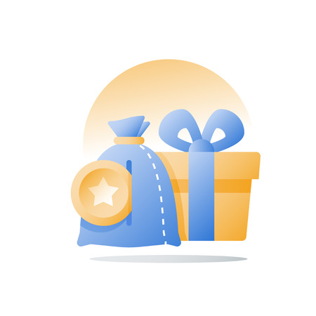 Yellow reward gift, present box, loyalty program, earn points, collect bonus, redeem special prize, vector icon, flat illustration