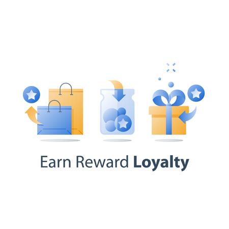 Puntos de recompensa, ganar obsequios, concepto de lealtad, programa de incentivos, canjear obsequios, caja presente, recolectar bonificaciones, bolsas de compras, icono de vector, ilustración plana