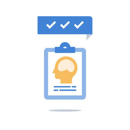 Valutazione dell'intelligenza, salute mentale, memoria del cervello, crescita o mentalità positiva, potenziale personale, pensiero critico o creativo, psichiatria o neurologia, processo decisionale, icona del vettore Vettoriali