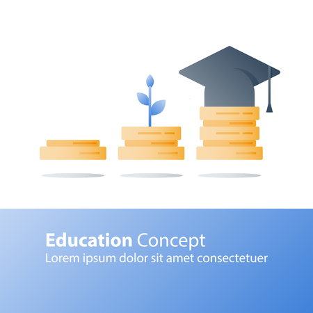 Knowledge growth, education concept, exam preparation, plant stem, books stack, vector icon, flat illustration