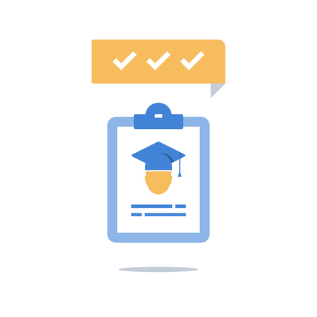 Education program, graduation hat and clipboard, check knowledge, exam preparation, training coarse enrollment, scholarship concept, vector icon Ilustrace