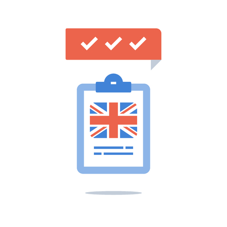 Learn British English language, education program, fast training course, pass exam, quick test preparation, improvement and development, linguistic class, grammar or vocabulary, vector icon