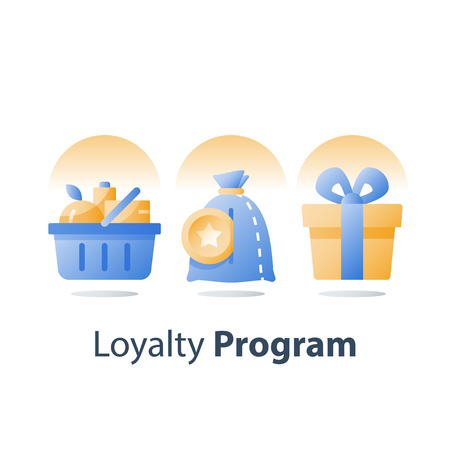 Full grocery basket, loyalty program, redeem reward gift, present box, earn bonus points, collect tokens, supermarket special offer, consumption incentive, vector flat icon