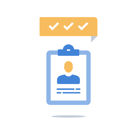 Human resources, recruitment concept, fast services, opinion poll, fast survey, enrollment program, staff evaluation, training course, vector icon