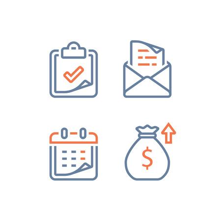 Calendario financiero, ingresos anuales, inversión y retorno de valor a largo plazo, período de tiempo, tasa de interés alta, cuota del plan de pago mensual del préstamo, solicitud de subvención de matrícula, vector lineal, icono de línea