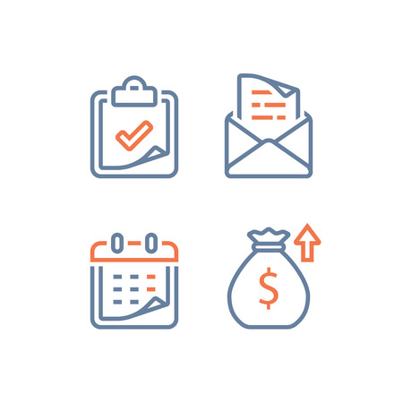 Financiële kalender, jaaromzet, langetermijnwaarde-investering en rendement, tijdsperiode, hoge rente, maandelijkse afbetaling van de lening, aanvraag voor collegegeld, lineaire vector, lijnpictogram
