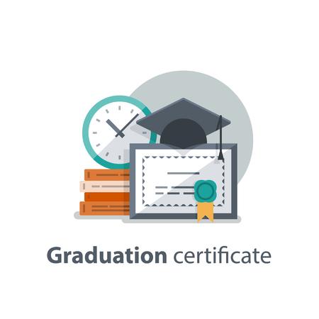 Concept de l'éducation, chapeau de graduation, diplôme et horloge, certificat d'études, réalisation, illustration vectorielle