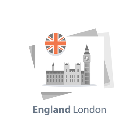 London symbol, travel destination, famous landmark, Big Ben tower with clock, the capital of England, British education concept, English language learning, Westminster Abbey, vector icon