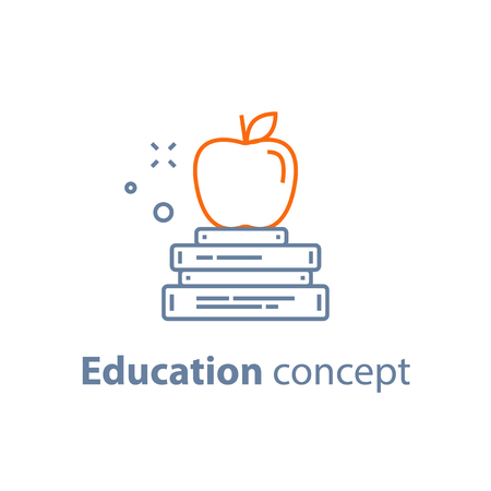 Education concept, stack of books with apple on top, exam preparation, vector line icon Illustration