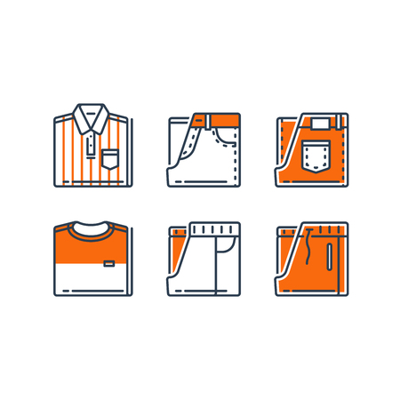 Men's casual clothing, striped shirt and jeans, t-shirt and track bottoms, folded clothes, men's wear collection, vector line icon set, linear design