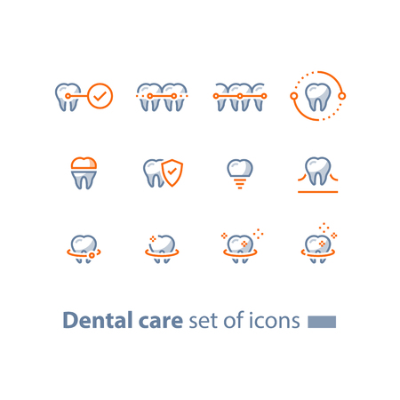 Dental care, prevention check up, stomatology services, teeth braces,  cleaning and whitening, implant and crown, protection concept, vector line icon set, linear design  イラスト・ベクター素材