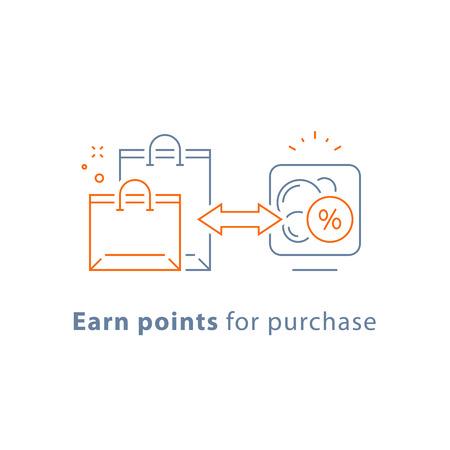 Sammeln Sie Punkte für Kauf, Treueprämienprogramm, Marketingkonzept, Vektorliniensymbol, dünne Strichillustration Vektorgrafik