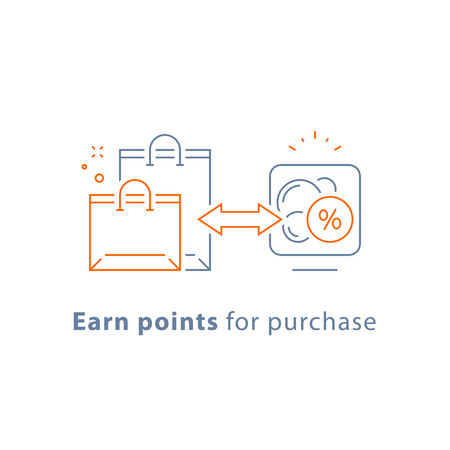 Earn points for purchase, loyalty reward program, marketing concept, vector line icon, thin stroke illustration