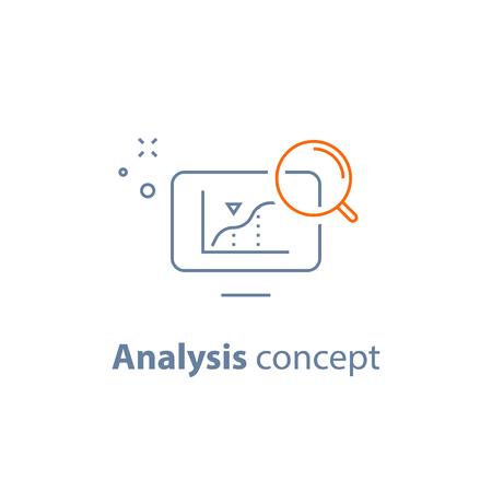 Analysis concept, analyzing data, performance graph, sales diagram, business development chart, progress report, productivity growth, vector line icon Иллюстрация
