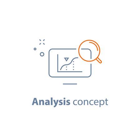 Analysis concept, analyzing data, performance graph, sales diagram, business development chart, progress report, productivity growth, vector line icon Illustration