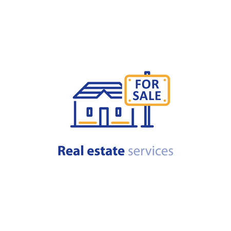 Real estate services, house for sale sign, advertising concept, vector line icon Stockfoto - 108933603