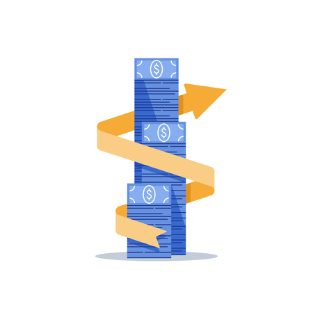 Income growth arrow, financial management, return on investment, budget expenses, mutual fund, bank savings account, interest rate, fund raising, money bills stack, dollar bundle vector flat icon  イラスト・ベクター素材