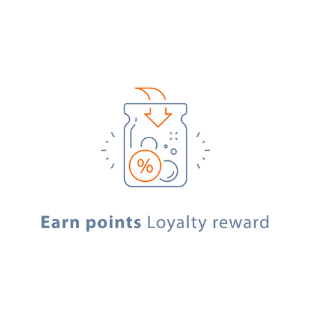 Earn points, loyalty reward program, cash back, donation concept, vector line icon, thin stroke illustration