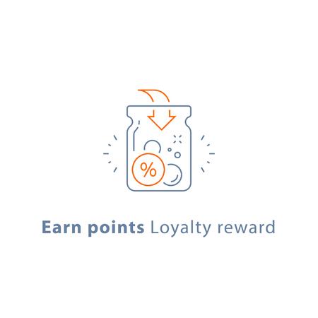 Sammeln Sie Punkte, Treueprämienprogramm, Cashback, Spendenkonzept, Vektorliniensymbol, dünne Strichillustration