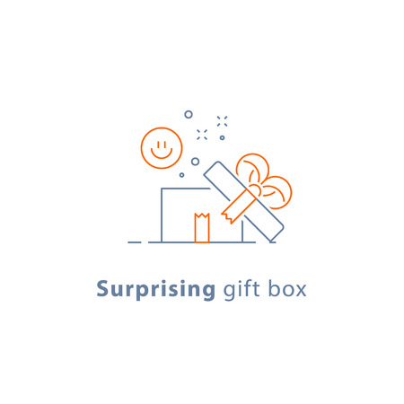 Surprising gift, prize give away, emotional present, fun experience, gift idea concept, line icon, vector illustration