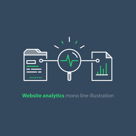 Web site analytics cervices, data processing concept, vector mono line icons