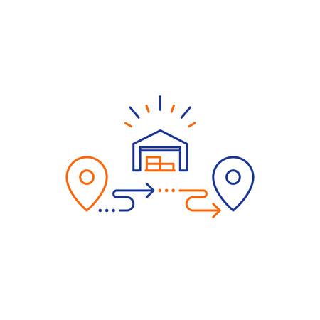 Concepto de centro de distribución de almacén mayorista, solución de cadena de suministro de entrega y elementos de logotipo de servicios de transporte, icono de línea de pedido de envío, vector de contorno de ubicación de seguimiento