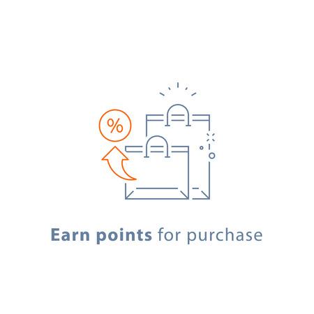 Sammeln Sie Punkte für Kauf, Treueprämienprogramm, Einkaufstaschen, Marketingkonzept, Vektorliniensymbol, Dünnstrichillustration