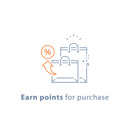 Earn points for purchase, loyalty reward program, shopping bags, marketing concept, vector line icon, thin stroke illustration