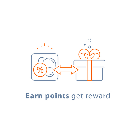 Earn points, loyalty reward program, marketing concept, gift coupon, free present, vector line icon, thin stroke illustration 矢量图像