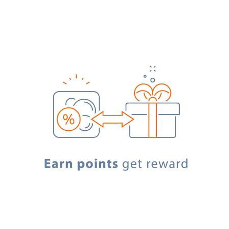 Gane puntos, programa de recompensa por lealtad, concepto de marketing, cupón de regalo, regalo gratis, icono de línea vectorial, ilustración de trazo fino