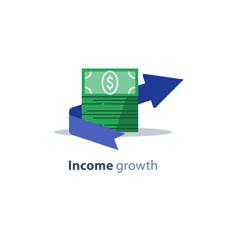 Income growth arrow, banking service, financial management, return on investment, budget planning, mutual fund, pension savings account, interest rate, fund raising, money bills stack vector flat icon  イラスト・ベクター素材