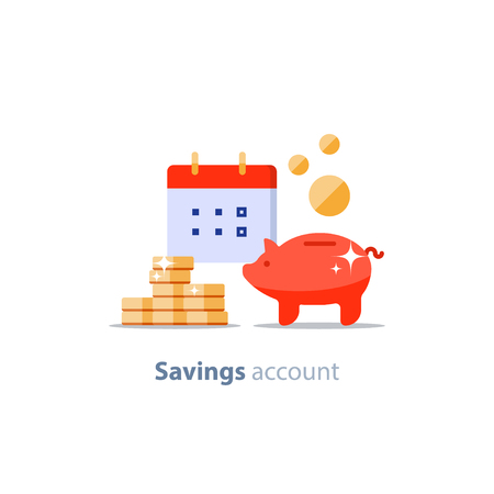Future income, financial calendar, piggy bank annual dividends, return on investment, home budget planning, monthly payment day, pension fund savings, superannuation illustration, vector flat icon Illustration