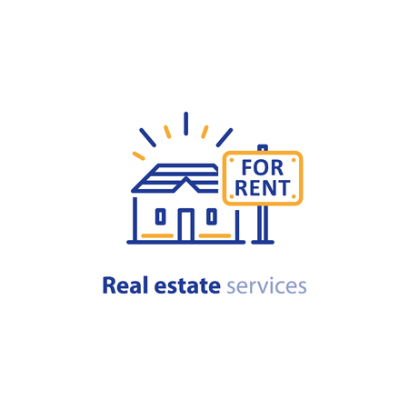Real estate services, house for rent sign, advertising concept, vector line icon