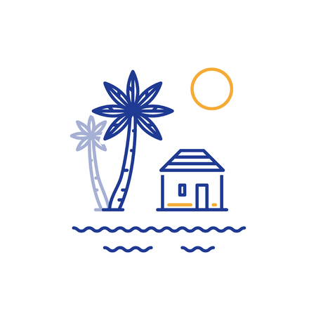Island paradise, resort with bungalow on the sea shore, summer house, vector line illustration