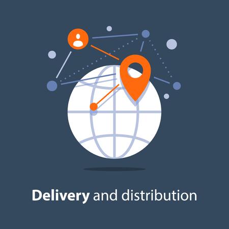 Global delivery and distribution, travel arrangements, international shipment Vektoros illusztráció